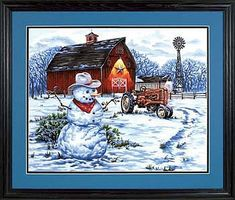 Country Snowman Paint By Number Kit #73-91434