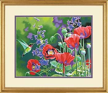 Dimensions Hummingbird and Poppies -- Paint By Number Kit -- #73-91443