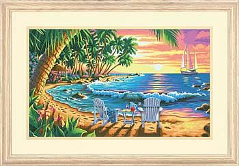 Dimensions Sunset Beach -- Paint By Number Kit -- #73-91444