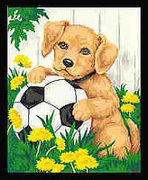 Dimensions Puppy & Soccer Ball Paint By Number Kit #91120