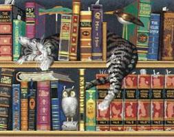 Dimensions Frederick the Literate (Cat on Bookshelf) Paint By Number Kit #91130