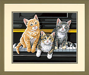 Dimensions 91144 Musical Trio Kittens Paint Works by Number Kit