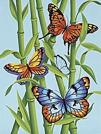 Dimensions Butterflies/Bamboo -- Paint By Number Kit -- #91258