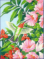 Dimensions Hummingbird & Fuchsia Flowers Paint By Number Kit #91310