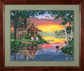 Dimensions Sunset Cabin -- Paint By Number Kit -- #91315