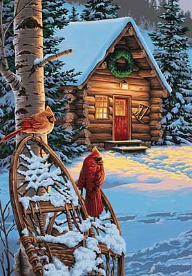 Dimensions Cardinals & Cabin (Winter Scene) -- Paint By Number Kit -- #91397