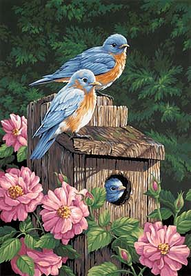 Dimensions Garden Bluebirds with Birdhouse -- Paint By Number Kit -- #91401