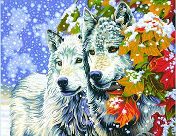 Dimensions Early Snow (Wolves) -- Paint By Number Kit -- #91489