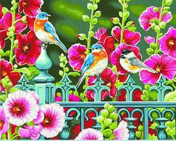 Dimensions Hollyhock Gate (Flowers/Birds) Paint By Number Kit #91490