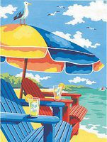 Dimensions At the Beach (Adirondack Chairs & Umbrella) Paint By Number Kit #91528