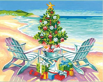 Dimensions Christmas on the Beach Paint by Number (14''x11'')