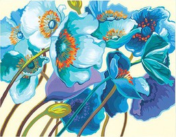 Dimensions Blue Poppies Paint by Number (11x14)