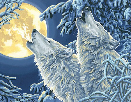 Dimensions Moonlight Wolves (11x14) Paint By Number Kit #91670