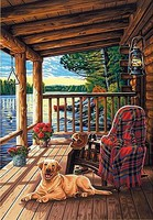 Dimensions Log Cabin Porch (14''x20'') Paint By Number Kit #91674