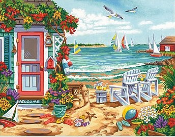 Dimensions Summertime Inlet (Beach, Chairs, House, Sailboats)(14x11) Paint by Number #91676