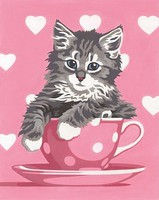 Dimensions Kitten Tea Cup Paint by Number (8''x10'')