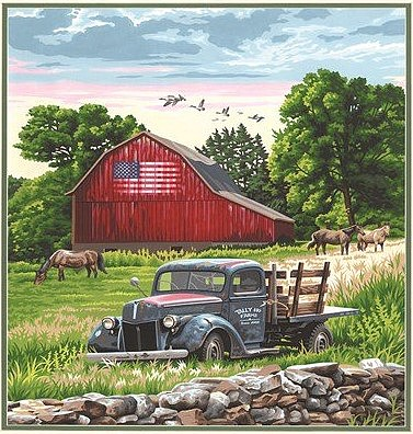 Dimensions Summer Farm (Old Pickup Truck/Barn/Horse) Paint by Number (16x20)