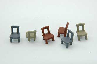 Durango Open Back Chairs (6) HO Scale Model Railroad Building Accessory #194