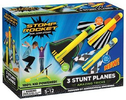 D&L Stunt Planes Stomp Rocket Set (3 planes, stand, stomp pad)