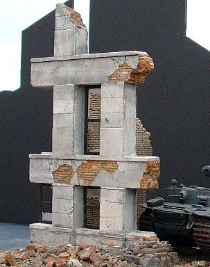 DioramasPlus Ruined Small Concrete/Brick Building Plaster Model Building Kit 1/35 #4