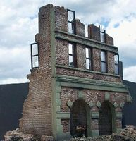 DioramasPlus Ruined Brick Factory Building (11''x6''x11'') Plaster Model Building Kit 1/35 Scale #5