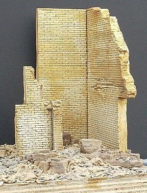 DioramasPlus Ruined Brick Corner Building Section (5x4x6) Plaster Model Building Kit 1/35 Scale #9