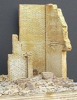 DioramasPlus Ruined Brick Corner Building Section (5''x4''x6'') Plaster Model Building Kit 1/35 Scale #9