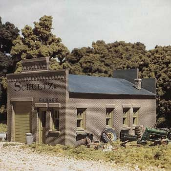 Design-Preservation Schultzs Garage Kit HO Scale Model Railroad Building #woo20100