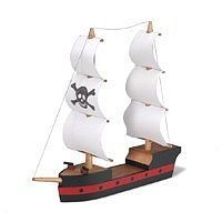 Darice Pirate Ship Wooden Model Kit (8''x7'') Wooden Construction Kit #918132