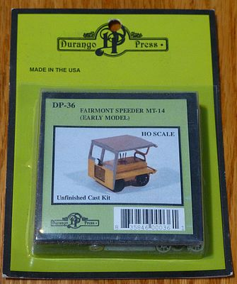 Durango FAIRMONT SPEEDER MT-14 HO Scale Model Railroad Accessory #36