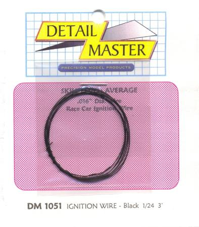 Detail Master 3ft. Car Ignition Wire Black -- Plastic Model Vehicle Accessory Kit -- 1/24-1/25 Scale -- #1051