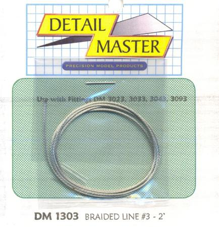 Detail Master 2ft. Braided Line #3 (.035'') -- Plastic Model Vehicle Accessory Kit -- 1/24-1/25 Scale -- #1303