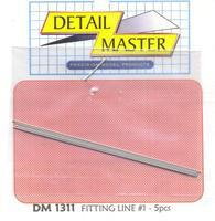 Detail-Master Fitting Line #1 .020 (5pc) Plastic Model Vehicle Accessory Kit 1/24-1/25 Scale #1311