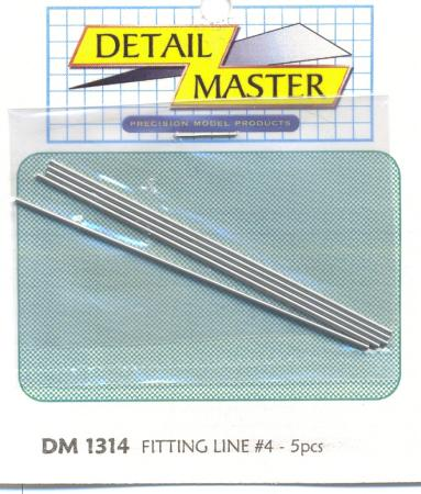 Detail Master Fitting Line #4 .045'' (4pc) -- Plastic Model Vehicle Accessory Kit -- 1/24-1/25 Scale -- #1314