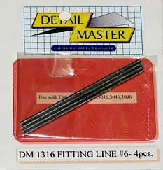 Detail Master Fitting Line #6 .080'' (4pc) -- Plastic Model Vehicle Accessory Kit -- 1/24-1/25 Scale -- #1316