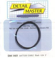 Detail-Master 2ft. Battery Cable Black Plastic Model Vehicle Accessory Kit 1/24-1/25 Scale #1401