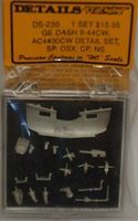 Details-West GE Dash 9-44CW Detail Set SP, CSX, NS HO Scale Miscellaneous Train Part #230