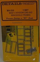 Details-West BNSF 4 Window Cab & Windshield Frames (1 Set) HO Scale Miscellaneous Train Part #358