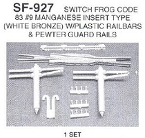 Details-West HO Switch Frog Code 83 Manganese #9 (White Bronze) Set