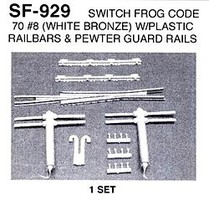 Details-West HO Switch Frog Code 70 #8 w/Guard Rails (White Bronze) Set