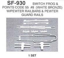 Details-West HO Switch Frog Code 55 #8 w/Points & Guard Rails (White Bronze) Set