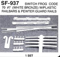 Details-West HO Switch Frog Code 70 #7 w/Guard Rails (White Bronze) Set