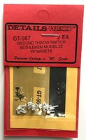 Details-West HO Ground Throw Switch Detail Bethlehem Model 22 w/Targets (2ea)