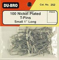 Du-bro T-Pins, Nickel Plated, 1'' (100)