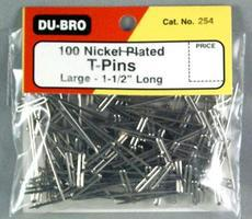 Du-bro T-Pins, Nickel Plated, 1-1/2'' (100)