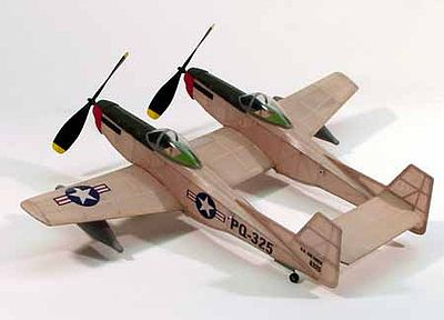 Dumas 17-1/2'' Wingspan F82 Twin Mustang Rubber Pwd Aircraft Laser Cut Kit