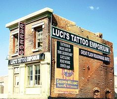 Downtown-Deco Lucis Tattoo Emporium Kit HO Scale Model Railroad Building #1050
