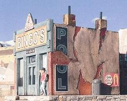 Downtown-Deco Bingos Pool Hall Cast Hydrocal & Plastic Kit N Scale Model Railroad Building #2006