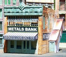 Downtown-Deco Metals Bank Kit N Scale Model Railroad Building #2013