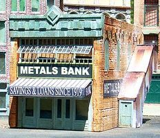 Downtown-Deco Metals Bank Kit O Scale Model Railroad Building #50